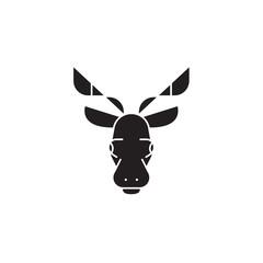 Elk head black vector concept icon. Elk head flat illustration, sign, symbol