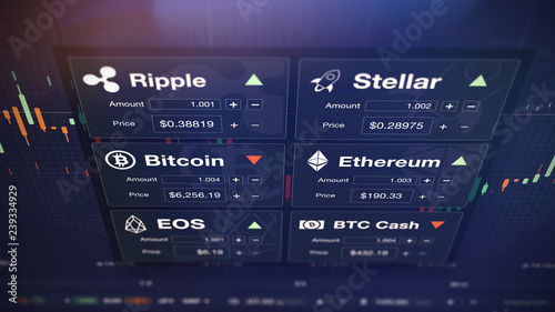 Modern stock exchange (crypto currency) with chart and numbers (3D