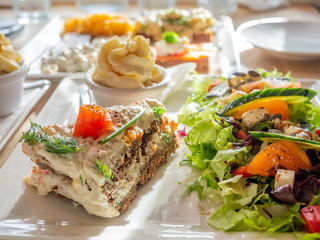 Recipe of food on white dish in restaurant