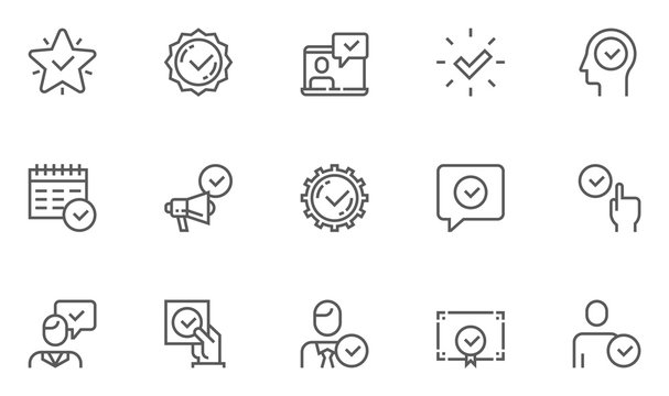 Approve Vector Line Icons Set. Authorization, Accept, Inspector. Editable Stroke. 48x48 Pixel Perfect.
