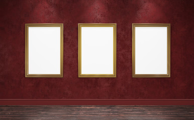 3d rendering illustration of classical gallery. Fine art museum. White blank canvases in gorgeus golden frames. Poster, artwork, paint mock up, template. Bright room with red plaster walls and hardwoo