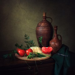 Still life with tomatoes and cheese