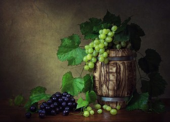 Still life with grape and wine