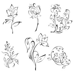 stylized flowers on stems with leaves in black lines on white background. SET