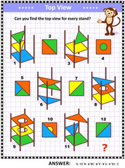 IQ and spatial skills training educational math puzzle: Find the top view for every object - colorful abstract book stand. Answer included.