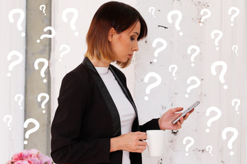 Wall Mural - Business question concept. Woman work of office talking on phone.