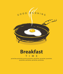 Vector banner on the theme of Breakfast time with a fried egg on a frying pan, with place for text in retro style on the yellow background