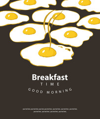 Vector banner on the theme of Breakfast time with hot fried eggs and place for text on the black background in retro style