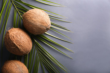 Ripe coconuts and palm leaf on color background