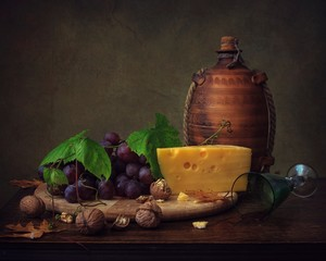 Still life with grapes and cheese