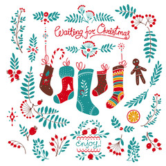 Christmas Socks and Rowan Floral Decor Drawings with Shabby Texture