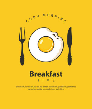 Vector banner on the theme of Breakfast time with fried egg, fork and knife on the yellow background with place for text in retro style