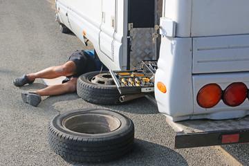 Camper van having a wheel change