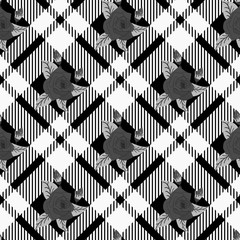 Beautiful flowers pattern on Template of checkered seamless background, plaid fabric, vector background