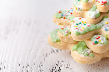 Cookies Christmas tree on a white background, place for text