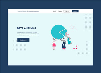 Vector data analysis, advanced analytics concept with male, female data scientist communicating near pie chart with space text. Machine learning, data mining poster template
