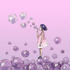 Watercolor girl with bubbles
