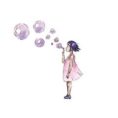 Watercolor girl wiyh bubbles