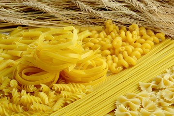 Different types of pasta with wheat ears close-up.