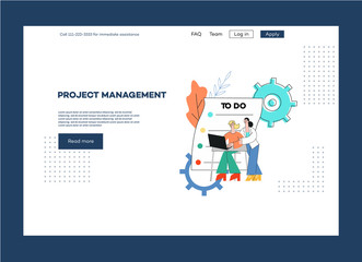 Vector project management outsource poster, web page template with woman manager near male design developer, programmer or analytic on checklist table background with cogwheel.