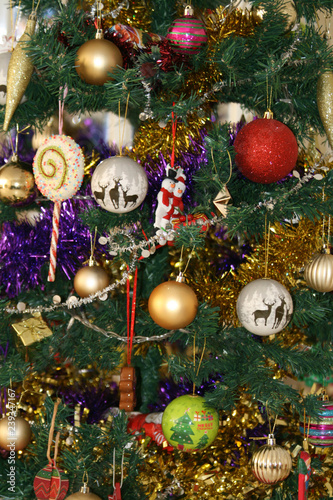 Colorful Christmas Tree Decorations.Close Up Of The Colorful Christmas Tree Decorations Stock
