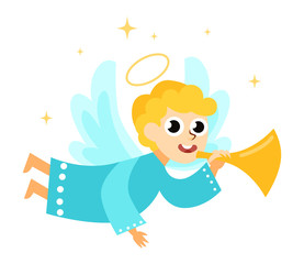 Christmas angel with halo wings and trumpet