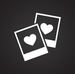 Photo cards heart icon on black background for graphic and web design, Modern simple vector sign. Internet concept. Trendy symbol for website design web button or mobile app