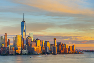USA, New York, Lower Manhattan, World Trade Center, Freedom Tower, across Hudson River