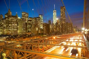 North America, United States of America, New York, New York, Manhattan Skyline from the Brooklyn Bridge at Night