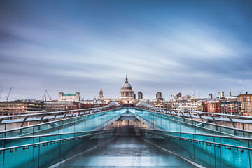 St Pauls Cathedral, seen across Millennium Bridge, City of London, London, England, United Kingdom
