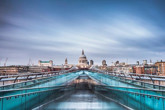 St Pauls Cathedral and Millennium Bridge, London, England, UK