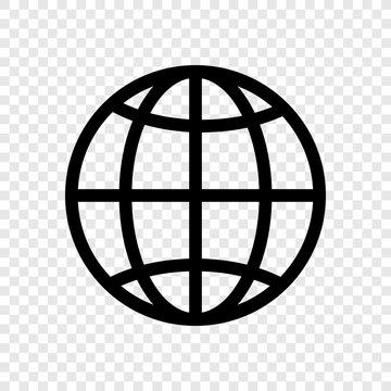 Globe, planet icon transparent grid