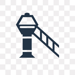 Airport tower vector icon isolated on transparent background, Airport tower  transparency concept can be used web and mobile