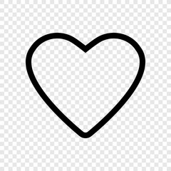 Heart vector icon transparent grid