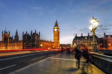 Big Ben and the Palace of Westminster from Westminster Bridge at night, London, England, United Kingdom, Europe