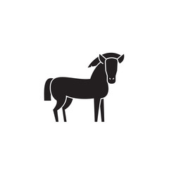 Farm horse black vector concept icon. Farm horse flat illustration, sign, symbol