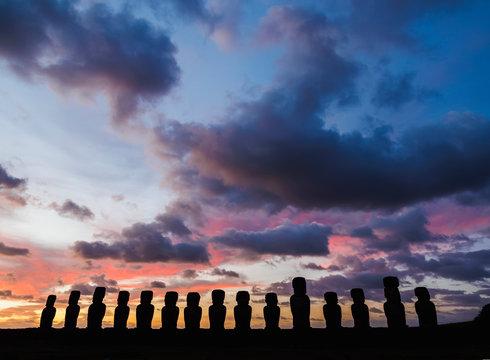 Moais in Ahu Tongariki at sunrise, Rapa Nui National Park, Easter Island, Chile