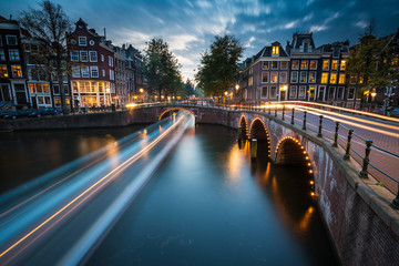 A long exposure of Amsterdam's southern canal rings at the intersection of Leidsegracht and Keizersgracht.