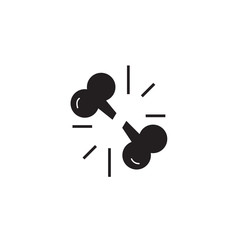 Fracture of bones black vector concept icon. Fracture of bones flat illustration, sign, symbol