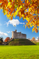 Norman Keep Castle, Autumn, Cardiff Castle, Wales, UK