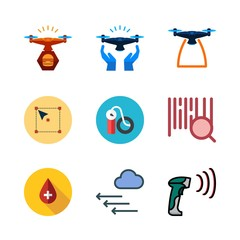 check icon set. vector set about select, blood, air pump and drone icons set.