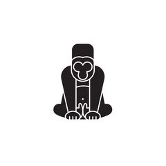 Gorilla black vector concept icon. Gorilla flat illustration, sign, symbol