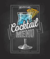 Chalk drawing typography cocktail menu design