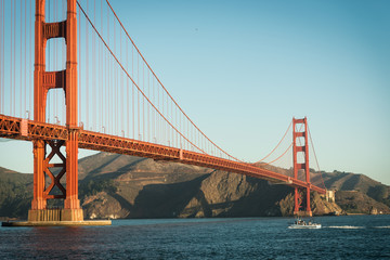 Golden Gate Bridge at sunrise from Fort Point, San Francisco,