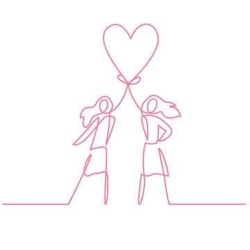 Two women holding heart continuous one line vector drawing