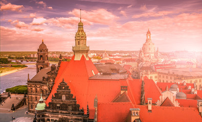 Panoramic bird view over amazing sunset in Dresden, Germany, cityscape