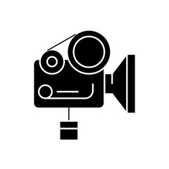 Movie camera black vector concept icon. Movie camera flat illustration, sign, symbol