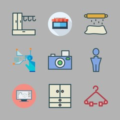 casual icon set. vector set about roller, man, virtual reality and supermarkets icons set.