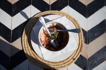 Empty bowl of chocolate ice cream