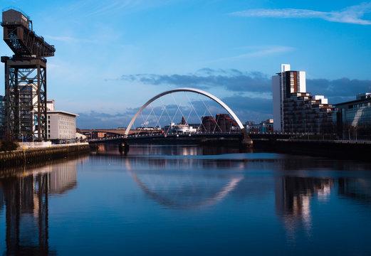 Bridge on the River Clyde at Finnieston Crane, Glasgow, UK